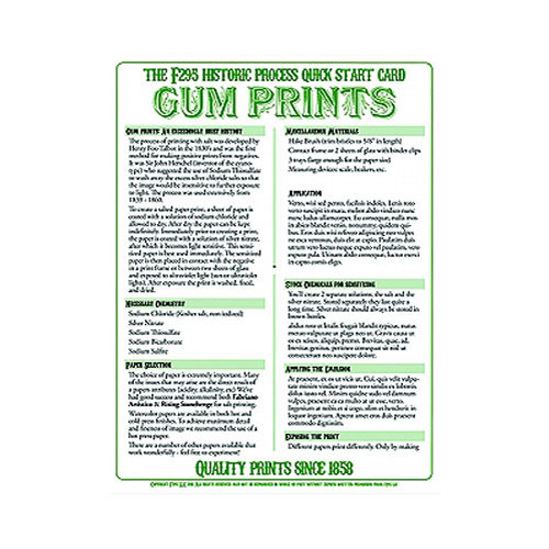 F295 Historic Process Laminated Reference Card for Gum Bichromate Processing