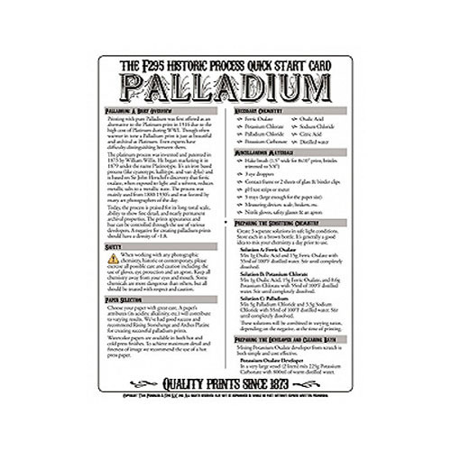 F295 Historic Process Laminated Reference Card for Palladium Processing