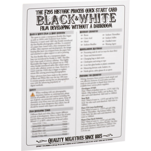 F295 Historic Process Laminated Reference Card for Black & White Film Developing