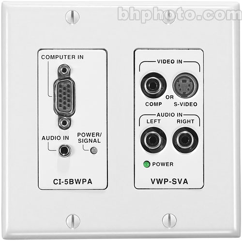 FSR CI-5BWPAWHT Wall Plate Interface and Line Driver - HD-15 to 5 BNC Interface, Stereo Mini to Balanced Stereo Audio, White Color