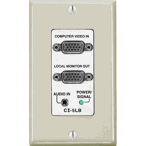 FSR CI-5LB-IVO Wall Plate Interface and EQ - HD-15 to 5 BNC Interface, Stereo Mini to Balanced Stereo Audio (Ivory)