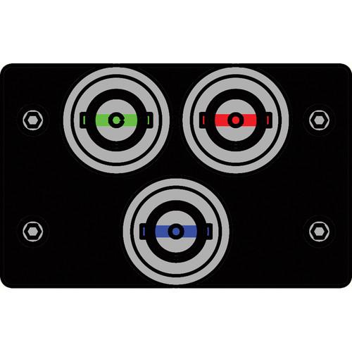 FSR IPS-V130D-BLK BNC (R/G/B) to BNC Bulkhead Insert Plate (Black)
