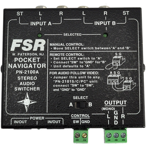 FSR PN-2100A Pocket Navigator 2x1 Stereo Audio Switcher