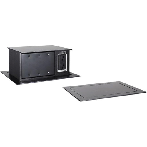 FSR PTB-3-BLK Pop-Up Table Box AC Outlet 3 Gang Black