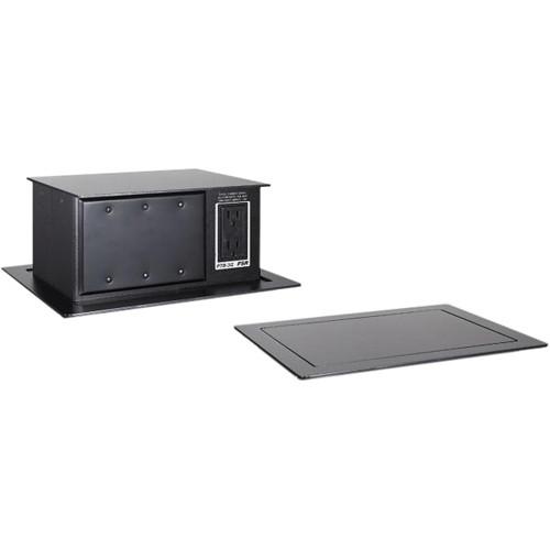 FSR PTB-4-BLK Pop-Up Table Box AC Outlet 4 Gang Black