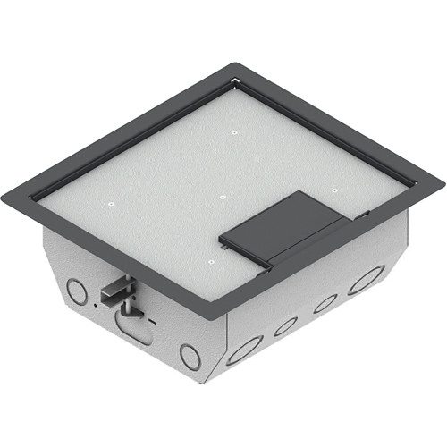 "FSR RFL4.5-Q2G-GRY Carpet Trim Cover- Single Door- 4.69"" Deep Floor Box (Gray)"