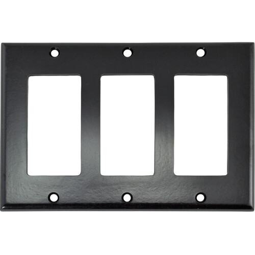 FSR SS-DPLT3-BLK Decora Wall Plate (3-Gang, Black)