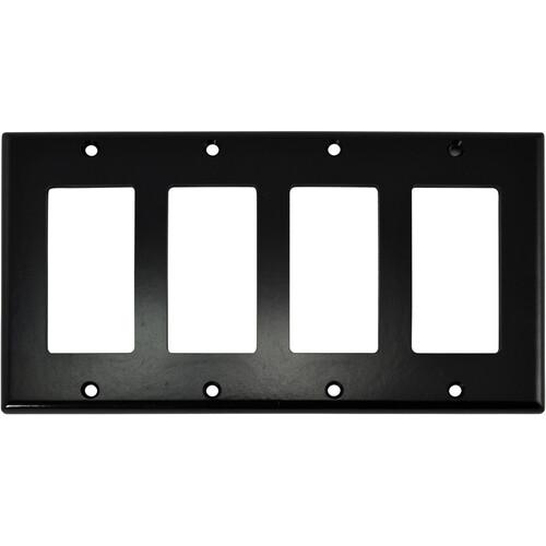 FSR SS-DPLT4-BLK Decora Wall Plate (4-Gang, Black)