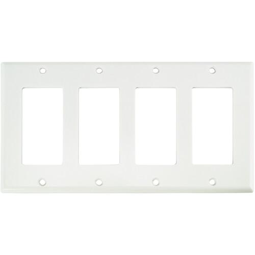 FSR SS-DPLT4-WHT Decora Wall Plate (4-Gang, White)
