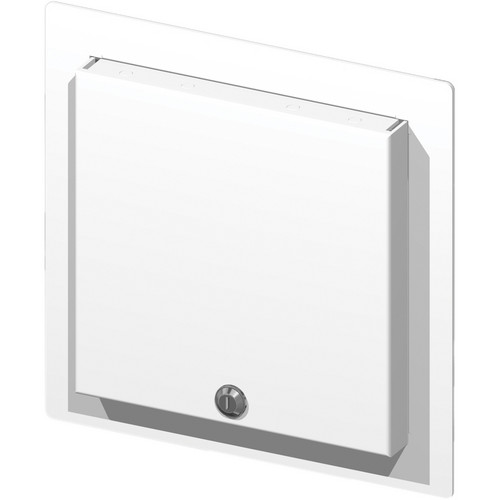 FSR WB-MR2G WB Series Recessed 2-Gang Wall Mounting Plate with Locking Metal Cover (White)