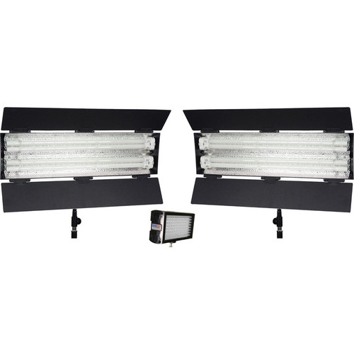 Flolight MicroBeam 1 - 128 / 2 - FL-110HMD LED / Fluorescent 3 Light Kit with Carrying Bags
