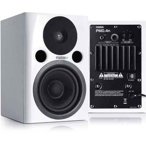 "Fostex PM0.4n 36W 4"" Active Nearfield Studio Monitor Speaker (Pair, White)"
