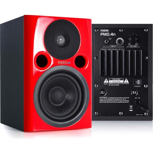 "Fostex PM0.4n 36W 4"" Active Nearfield Studio Monitor Speaker (Pair, Red)"