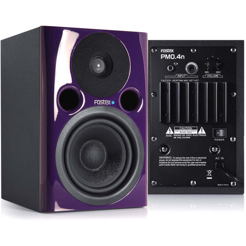 "Fostex PM0.4n 36W 4"" Active Nearfield Studio Monitor Speaker (Pair, Violet)"