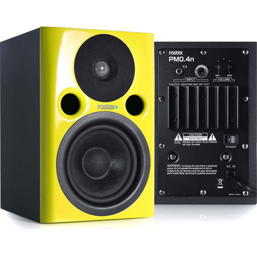 """Fostex PM0.4n 36W 4"""" Active Nearfield Studio Monitor Speaker (Pair, Yellow)"""