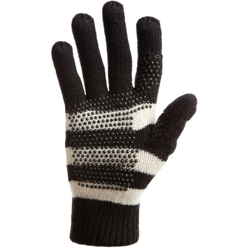 Freehands Women's Stripe Wool Knit Gloves (Black)