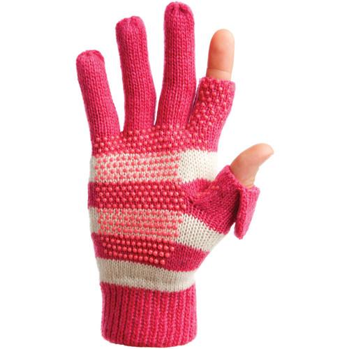 Freehands Women's Stripe Wool Knit Gloves (Pink)