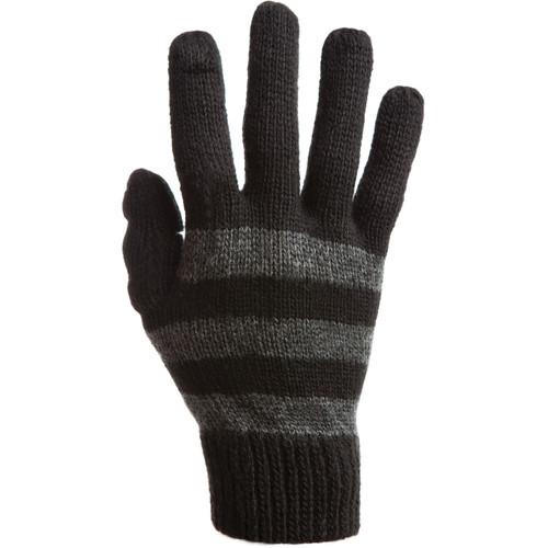 Freehands Women's Stripe Wool Knit Gloves (Charcoal)