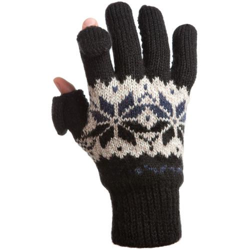Freehands Women's Rag-Wool Gloves (Small/Medium, Black)