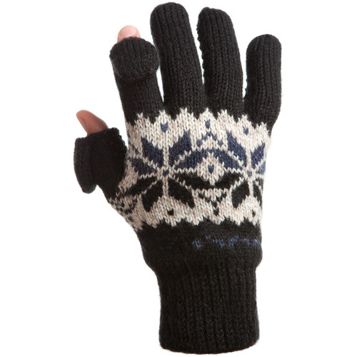 Freehands Men's Rag-Wool Gloves (Small/Medium, Black)