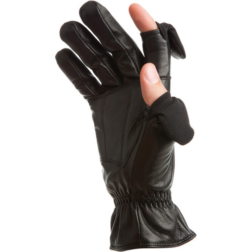 Freehands Men's Leather Gloves (Large, Black)