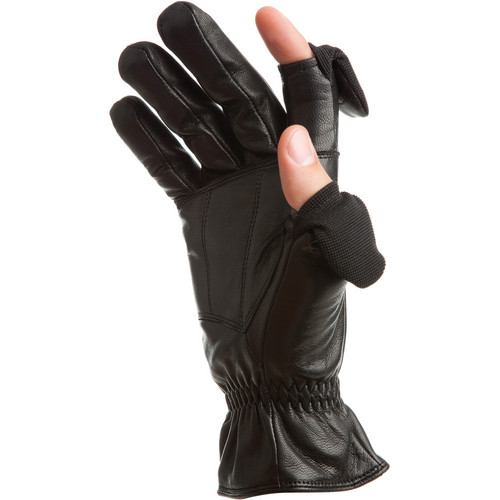 Freehands Men's Leather Gloves (Medium, Black)