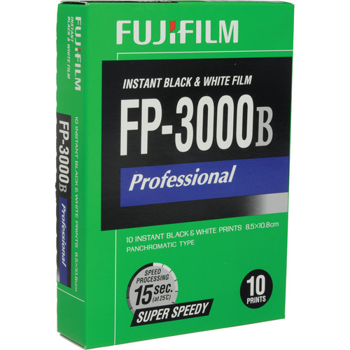 FUJIFILM FP-3000B Professional Instant Black & White Film (10 Exposures, Expired)
