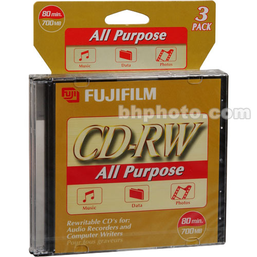 Fujifilm CD-RW All Purpose Recordable Disc (Pack of 3)