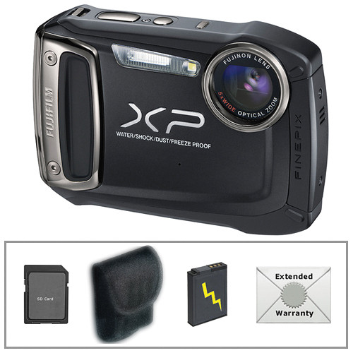 Fujifilm FinePix XP100 Digital Camera (Black) with Deluxe Accessory Kit