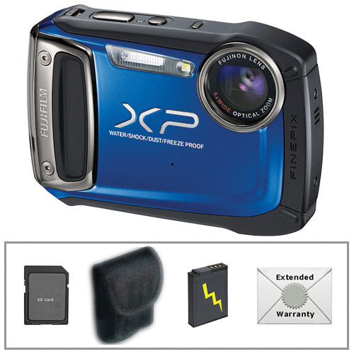 Fujifilm FinePix XP100 Digital Camera (Blue) with Deluxe Accessory Kit