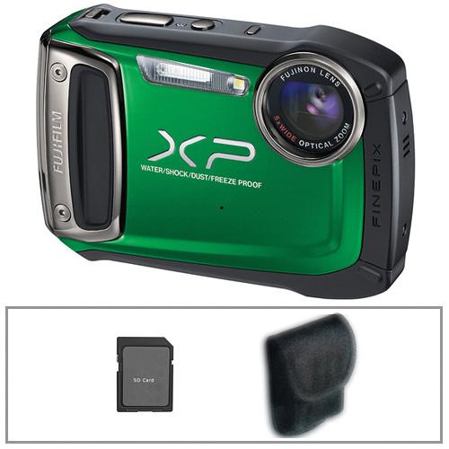 Fujifilm FinePix XP100 Digital Camera (Green) with Basic Accessory Kit