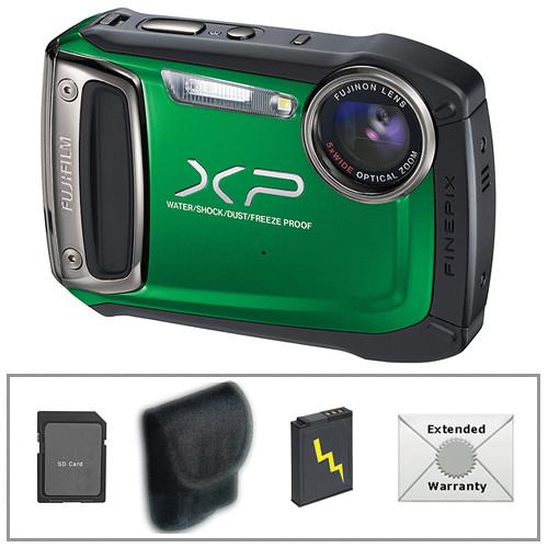 Fujifilm FinePix XP100 Digital Camera (Green) with Deluxe Accessory Kit