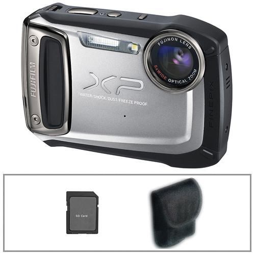 Fujifilm FinePix XP100 Digital Camera (Silver) with Basic Accessory Kit