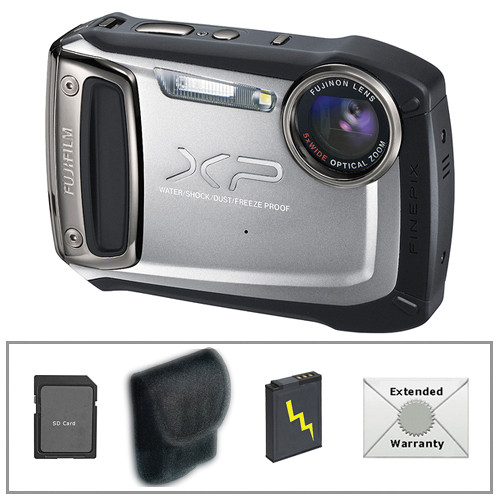 Fujifilm FinePix XP100 Digital Camera (Silver) with Deluxe Accessory Kit