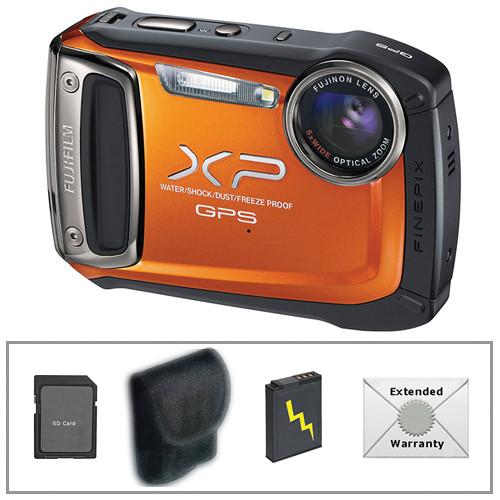 Fujifilm FinePix XP150 Digital Camera (Orange) with Deluxe Accessory Kit
