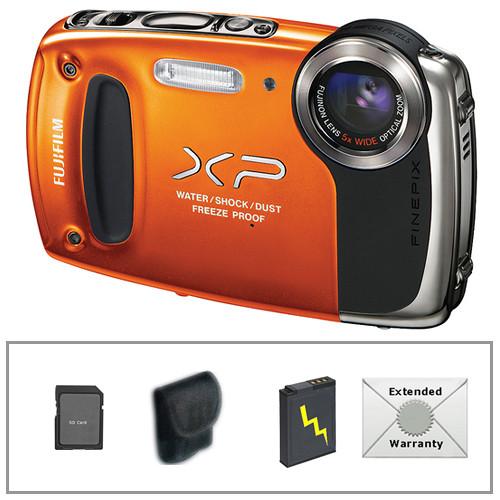 Fujifilm FinePix XP50 Digital Camera with Deluxe Accessory Kit (Orange)