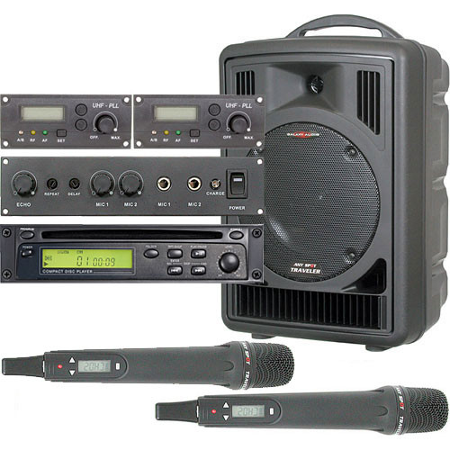 Galaxy Audio AS-TV8CE2H Any Spot Traveler PA with CD Player, Echo System, and Two Handheld Mics