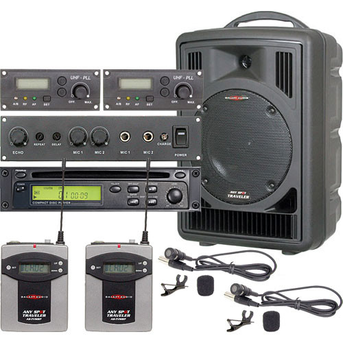 Galaxy Audio AS-TV8CE2V Traveler PA with CD Player, Echo System, and Two Lavalier Mics