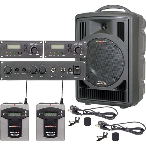 Galaxy Audio AS-TV8E2V Any Spot Traveler with Echo and Two Lavalier Mics