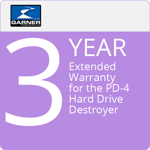 Garner 3-Year Extended Warranty for the PD-4 Hard Drive Destroyer