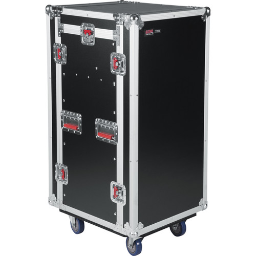 Gator Cases G-TOUR 10X16 PU Pop-Up Console Rack Case - 10 Space Top and 16 Space Front and Rear Rackable Audio Equipment