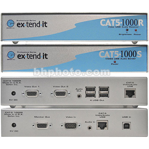 Gefen CAT5-1000 KVM Extender (VGA, Audio & USB) Sender With Receiver