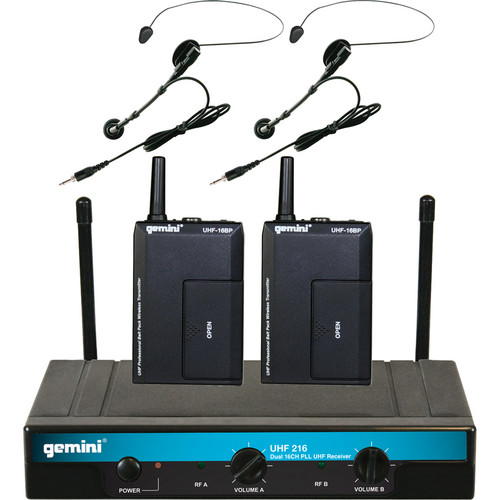 Gemini UHF- 216HL Dual Wireless Head-worn & Lavalier Microphone System