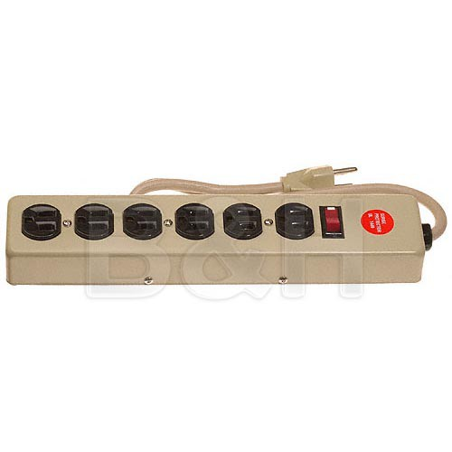 General Brand Power Strip - Metal - 6 Outlets