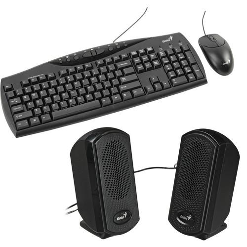 Genius KMS U110 3-in-1 Multimedia Desktop Kit with Keyboard, Mouse & Speakers