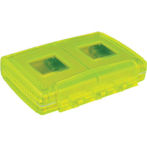 Gepe Card Safe Extreme Watertight Case - for Four Compact Flash (CF), Smart Media (SM), Memory Stick (MS), Multi Media (MMC) or Secure Digital Cards (Neon Green)