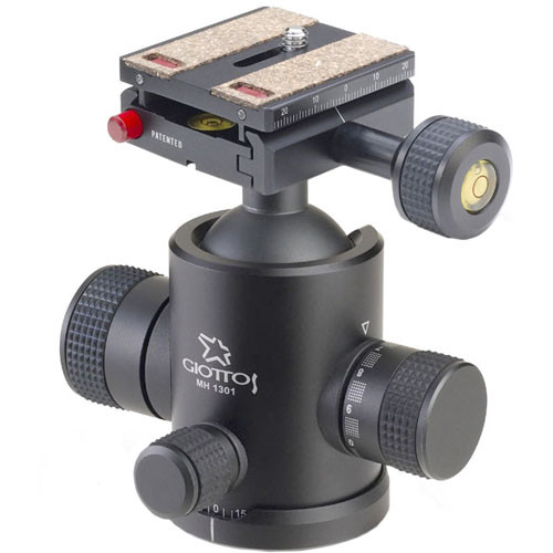 Giottos MH-1301 Pro Series II Medium Ballhead with MH-656 Quick Release System - Supports 20 lbs (9 kg)