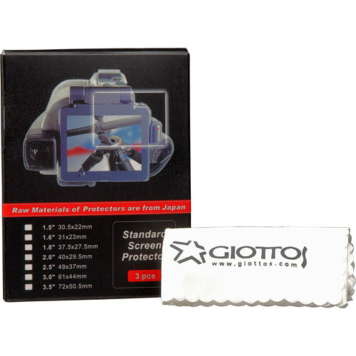 "Giottos 2.5"" LCD Screen Protector w/ Microfiber Cloth"