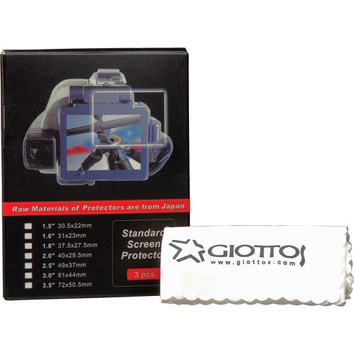 """Giottos 3"""" LCD Screen Protector (3-Pack) with Microfiber Cloth"""