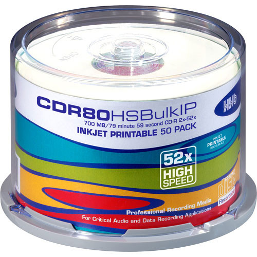 Hhhb: HHB CD-R 80 High Speed, Inkjet Printable Compact CDR80HSBULKIP